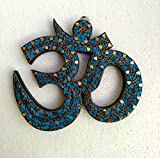Collectible India Om Wooden Wall Hanging Home Decor Spiritual Om Sign Blue Stone Handmade Wall Mask Art Sculpture