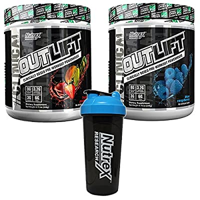 Nutrex OUTLIFT Pre-Workout BUNDLE: 2 x 248g TUBS + SHAKER! Clinically dosed muscle pumps   Fruit Punch + Blue Raspberry flavours!   BCAAs   Reduces fatigue and supports recovery   Sport Trusted: No Banned Substances by Nutrex Research