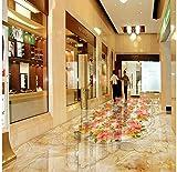 Chlwx 350cmX240cm (137.8inX94.392in) Im Europäischen Stil Stein Muster Jade Parkett Wohnzimmer Badezimmer 3D Boden Pvc-Bodenbeläge Tapeten Home Decoration