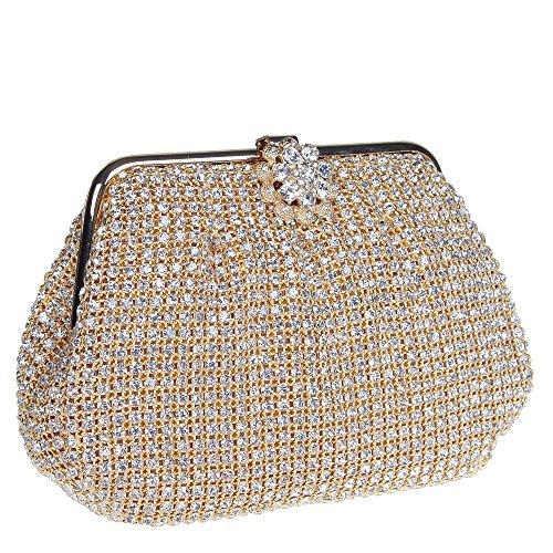 Damen Clutch Abendtasche Handtasche Geldbörse Luxus Funkelt Glitzer Einfach Gold Silber Schwarz Tasche mit wechselbare Trageketten von Santimon(3 Kolorit) Gold
