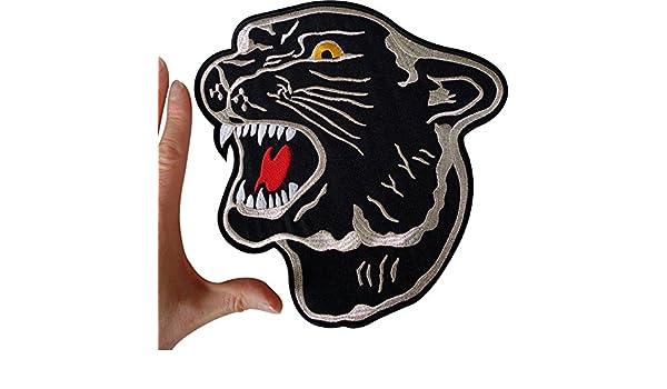 ricamata Akacha Toppa dal design a pantera nera termoadesiva per zaini