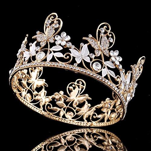 """Santfe 3""""diseño de mariposa con cristales de pelo Tiara Corona Reina novia Prom Pageant cabeza accesorios"""