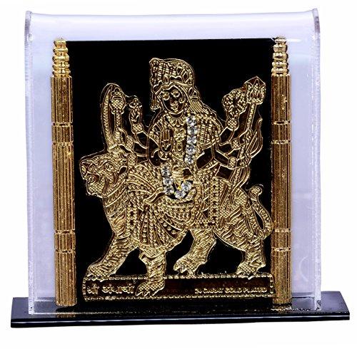 Purpledip Maa Durga Vorzeige-Statue für Autoablage, Zuhause, Geschäftstresen/Regal, oder Bürotisch (10316)