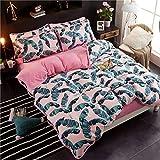 AZSUR Vier Stück Baumwolle bedeckt Bettdecke, Reine Baumwolle Korallen Haufen Bettwäsche, Herbst und Winter Warmes Bett Gesetzt, 1,5 * 2,0 m, Banane