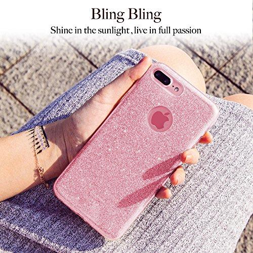 iPhone 7 Plus Hülle, ESR® Glitzer Hybrid Schutzhülle [Drei Schichten in einem] [Weiche TPU Abdeckung + Glitzer Papier + PC innere Schicht] iPhone 7 Plus Bumper Case Hülle für iPhone 7 Plus (5,5 Zoll)  Rosygold