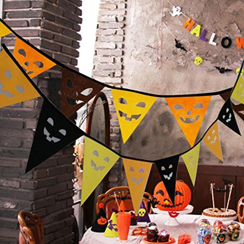 Kicode Halloween Triangle Banners Flag Spooky Ghost Face Party Bar Pendant Deco Decorations Decal Novelty Creative (Face Ghost Zombie)