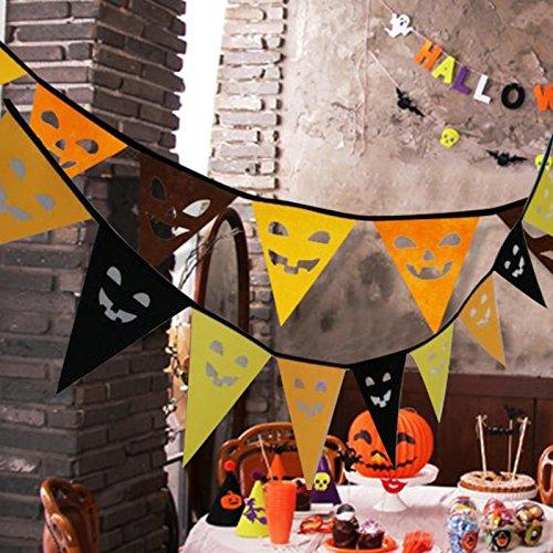 eutel Halloween Dreieck Banner Flagge Gespenstisch Geist Gesicht Party Bar Anhänger Deco Dekorationen Abziehbild Neuheit Kreativ (Geist Halloween Animatronics)