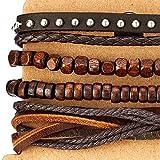 Mischen von 4 Braun Wickeln um Strap Armband Herren Damen, Multi-Strang Holz Perlen mit Nieten Lederarmband - 3