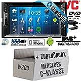 Mercedes C-Klasse W203 - Autoradio Radio JVC KW-V235DBTE - DVD | Bluetooth | DAB+ | CD | MP3 | USB | Android | iPhone | 2-Din - Einbauzubehör - Einbauset