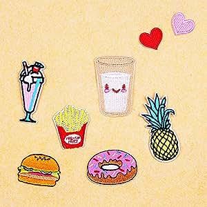 LanLan Clothes Accessories 8 Pieces Exquisite Fries Pineapple Burger Cloth Piece Set Clothes Patches Cap Bag