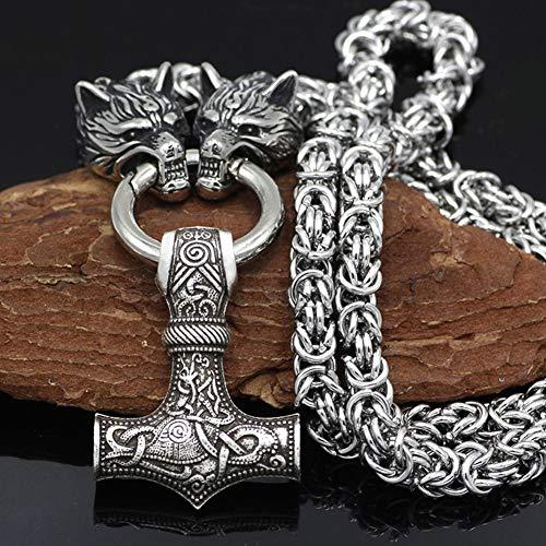 QZY Edelstahl Kette - Wikinger Wolfskopf Mit Thors Hammer Mjolnir Wolf Anhänger Halskette Männer Amulett Thor Hammer Anhänger Halskette Wikinger Königskette,Mjolnir,60