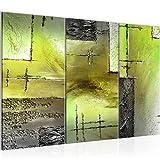 Bilder Abstrakt Wandbild 120 x 80 cm Vlies - Leinwand Bild XXL Format Wandbilder Wohnzimmer Wohnung Deko Kunstdrucke Grün 3 Teilig -100% MADE IN GERMANY - Fertig zum Aufhängen 100931c
