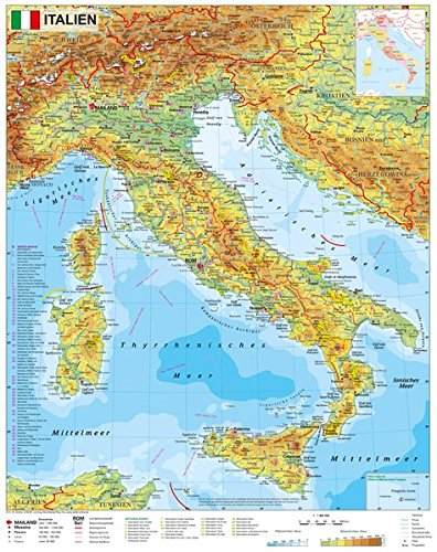 Preisvergleich Produktbild Italien physisch - Wandkarte / Poster