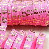 """mdribbons 5/8""""50yds/rollo (16mm de ancho 45,72m) de oro Baby Footprint elástico plegable elástica ribbon-for DIY Manualidades, bebé Cumpleaños Ducha para el pelo diadema Suministros"""