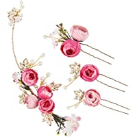 4 pezzi a Forma di U Rosa Forcina fiore Perni per Capelli Strass Perla Accessori da Sposa per la Sposa Damigella D'onore…