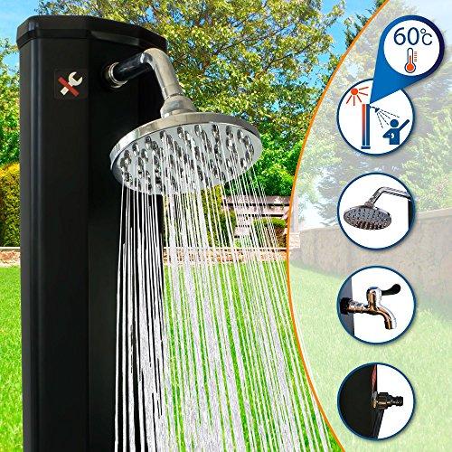 Nemaxx SD35F Solardusche - schwarz Gartendusche mit UV-beständigem Wassertank 35 Liter - mit Fußdusche / Wasserhahn und schwenkbarem Regenduschkopf -