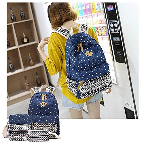 Imagen de susutop set de 3  escolares juveniles para chicas lona mujer tela casual bolsa escolar niña ordenadores portátiles de +bolso de bandolera+monedero azul marino  alternativa