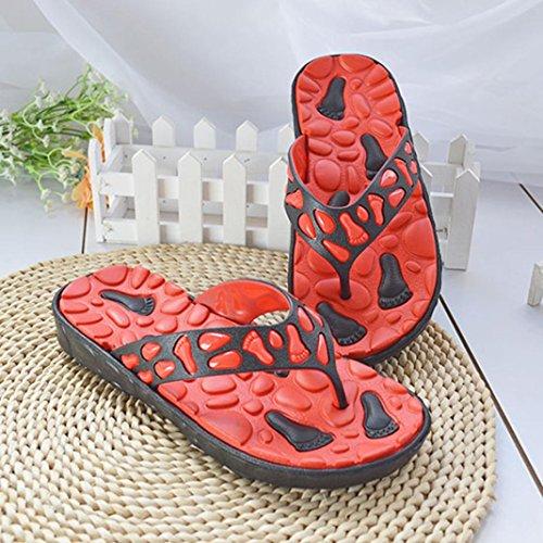 Transer® Herren Flach Zehentrenner PVC Hausschuhe Gelb Weiß Rot Blau Fußabdruck Massage Anti-Rutsch Slipper Rot