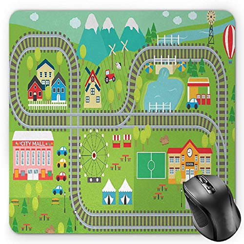 HYYCLS Kid's Activity Mauspads, Train Tracks with Colorful Town School City Mall and Amusement Park Fair, Standard Size Rectangle Non-Slip Rubber Mousepad, Multicolor
