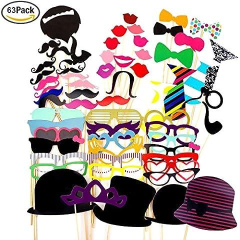 Foonii Photo Booth Atrezzo Favorecer Incluyendo cómica divertida creativa Bigotes Gafas Pelo Arcos Sombreros labios para el partido boda cumpleaños del favor de la graduación 63