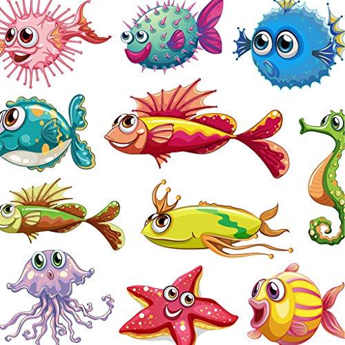 hergon mit Fisch Pflaster für Kinder, zum Basteln Eisen auf Patch Abzeichen Aufnäher Jeans-Tasche mit Patch Sticker Applikation, 106