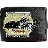 HARLEY DAVIDSON TOURING image sur KLASSEK Hommes RFID Portefeuille Porte-monnaie Réel Noir Cuir Moto Bike cadeau d'accessoire avec boîte en métal produit HARLEY DAVIDSON Non officiel
