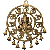 Two Moustaches Om Ganesha Brass Wall Hanging With Bells Showpiece   Home Decor     Wall Decor  