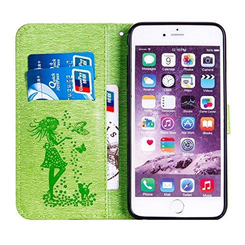 Pour Apple IPhone 6 et 6s Plus Housse, Embossed Girl Pattern Rhinestone Carton en cuir PU Case Flip Stand Case avec support et cordon et carte Cash Slots ( Color : Blue ) Green