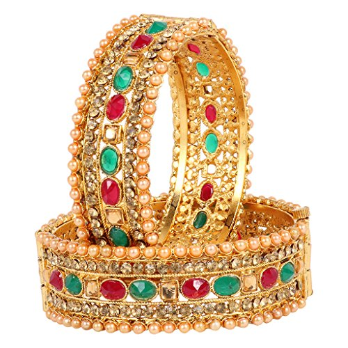 Ds Gold Plated Polki Kundan Pearl Studded Ethnic Traditional Multicolour Openable Kada Bangle For Women(Ds173)
