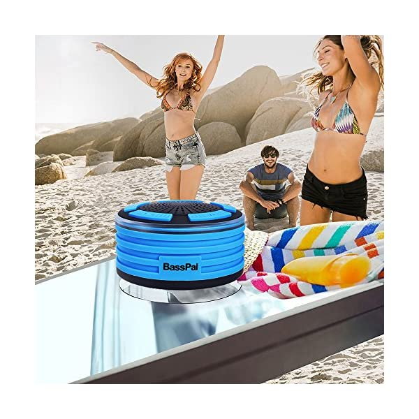 BassPal Shower Speaker, IPX7 Waterproof Portable Wireless Bluetooth 4.0 Speakers with Super Bass and HD Sound, Perfect Speaker for Beach, Pool, Kitchen & Home 5