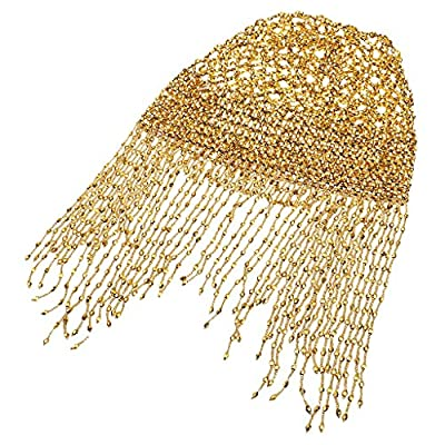 Segolike Women Girls Fashionable Belly Dance Costume Headwear Accessory Beaded Elastic Hat Cap Golden