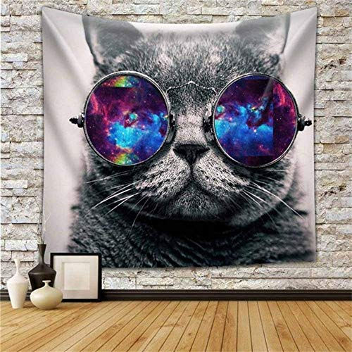 Rjjdd Tier Tapisserie Multi-Color Wolf Galaxy Hipster Cat Wear Farbe Sonnenbrillen Und Malerei Wandbehang Wanddekorkunst Home 150X130Cm