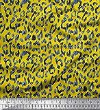 Soimoi Gelb Viskose Chiffon Stoff Leopard Tierhaut Stoff