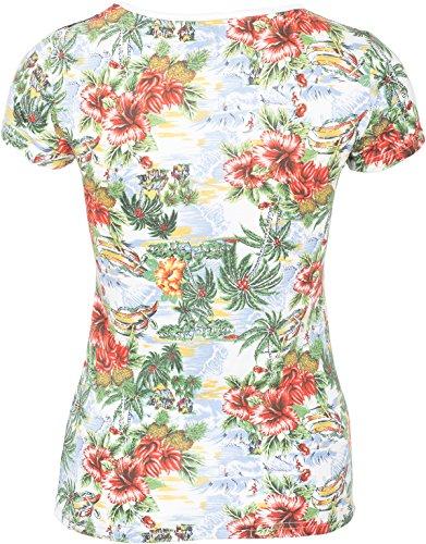 Küstenluder DELMA Vintage Pineapple HIBISCUS Palmen TULLE Shirt Rockabilly Weiß mit tropischem Muster