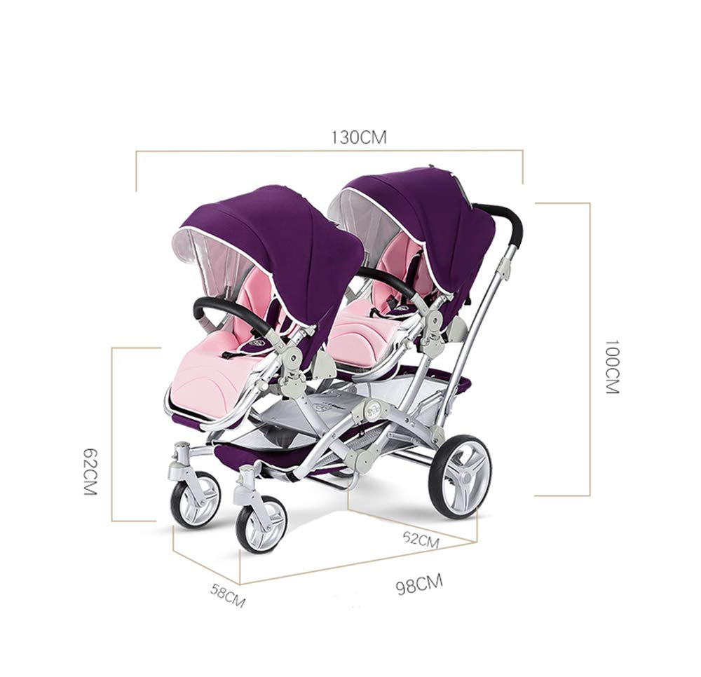 Baby Strollers Double Pushchair Twins Tandem Pushchairs, Reversible Seat Convertible Front And Rear Seats Lightweight with Convertible Bassinet Stroller Extended Canopy/Large Storage Basket,Pink MYRCLMY ♥TWIN STROLLER: Getting everywhere with two little ones has never been easier, thanks to the Double Strollers; you can glide around town even when you only have one hand free to steer; you can even roll through a standard size doorway. ♥ADJUSTABLE BACKREST & CONNECTABLE SEATS :The backrest can adjust to fit baby's sleep posture to keep comfortable sleeping. Two seats can be connected to lengthen the seat. ♥SAFETY WHEELS & 5-POINT SAFETY BELTS:The springs in front wheels absorb shocks for easy to control direction and safety. The 5-point safety belt is equipped with each seat to ensure security while keeping your baby fit to the safety belt to feel comfortable. 2