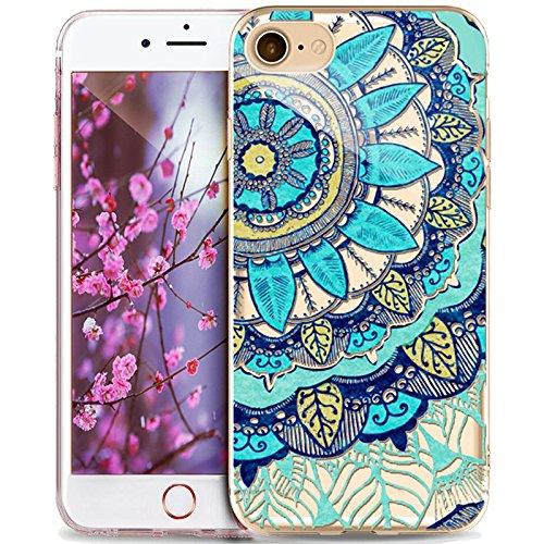 Coque iPhone 5S,Coque iPhone SE,Coque iPhone 5,Étui pour iPhone 5S 5 SEikasus® Coque iPhone SE 5S 5 Silicone Étui Housse Téléphone Couverture TPU avec Indische Sonne Mandala de fleurs motif Ultra Minc Mandala de fleurs #18
