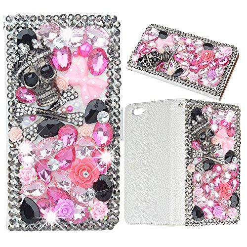 Evtech (TM) Teschio Strass Crystal Glitter Custodia a Libro in Pelle PU Custodia a portafoglio con supporto per telefono e carte di credito, similpelle, Skull, LG G4 H815 H818 - Ivory Pearl Carta