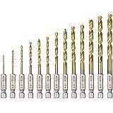 Metallbohrer Set, 13 Stück HSS Spiralbohrer Set, Hochgeschwindigkeits Titan beschichteter Stahl, hitzebeständig, 1.5 mm - 6.5