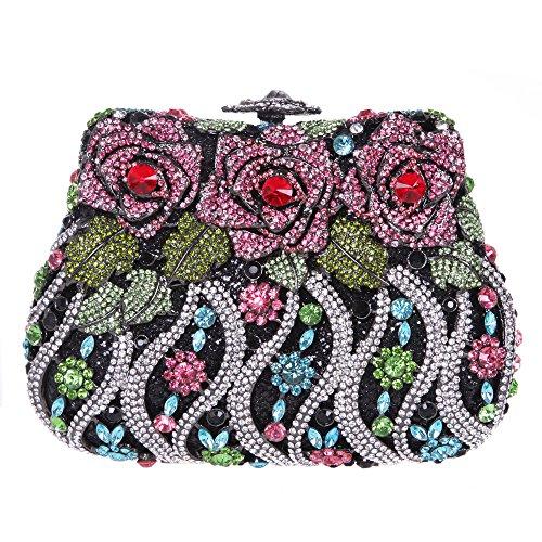 Bonjanvye Delicate Studded Rose Clutch Bag Crystal Evening Bags for Girls Silver Multicolor