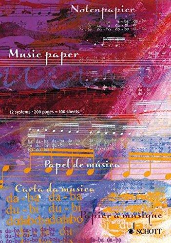 Notenblock: 100 Blatt/200 Seiten, 12 Systeme (Schott-Komponisten-Karte)