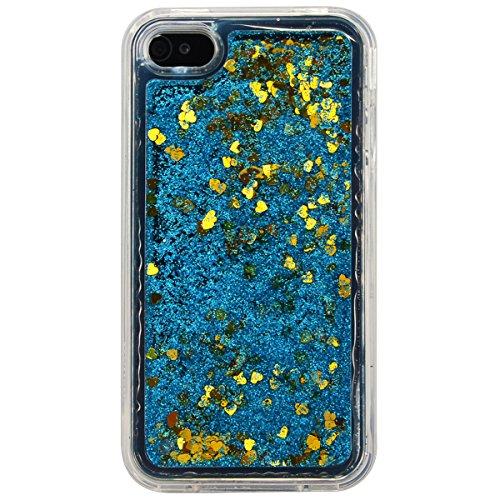 WE LOVE CASE iPhone 4 / 4s Hülle Weich Silikon iPhone 4 4s Schutzhülle Handyhülle Im Durchsichtig Transparent Crystal Clear Treibsand Glitzer Liquid Quicksand Funkeln Stern Liebe Blau Muster Handytasc Blau Liebe