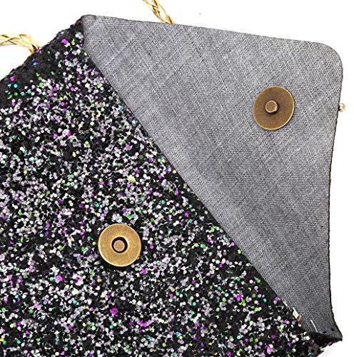 Dairyshop I bambini del bambino dei capretti bambini allentano i sacchetti di spalla i sacchetti dei soldi della borsa dei sequins (Argento) Nero