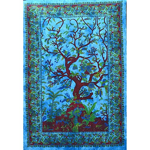 Handicrunch Boho Baum des Lebens Tapisserie, Mittel, Türkis - Block Bedruckten Baumwollbettlaken
