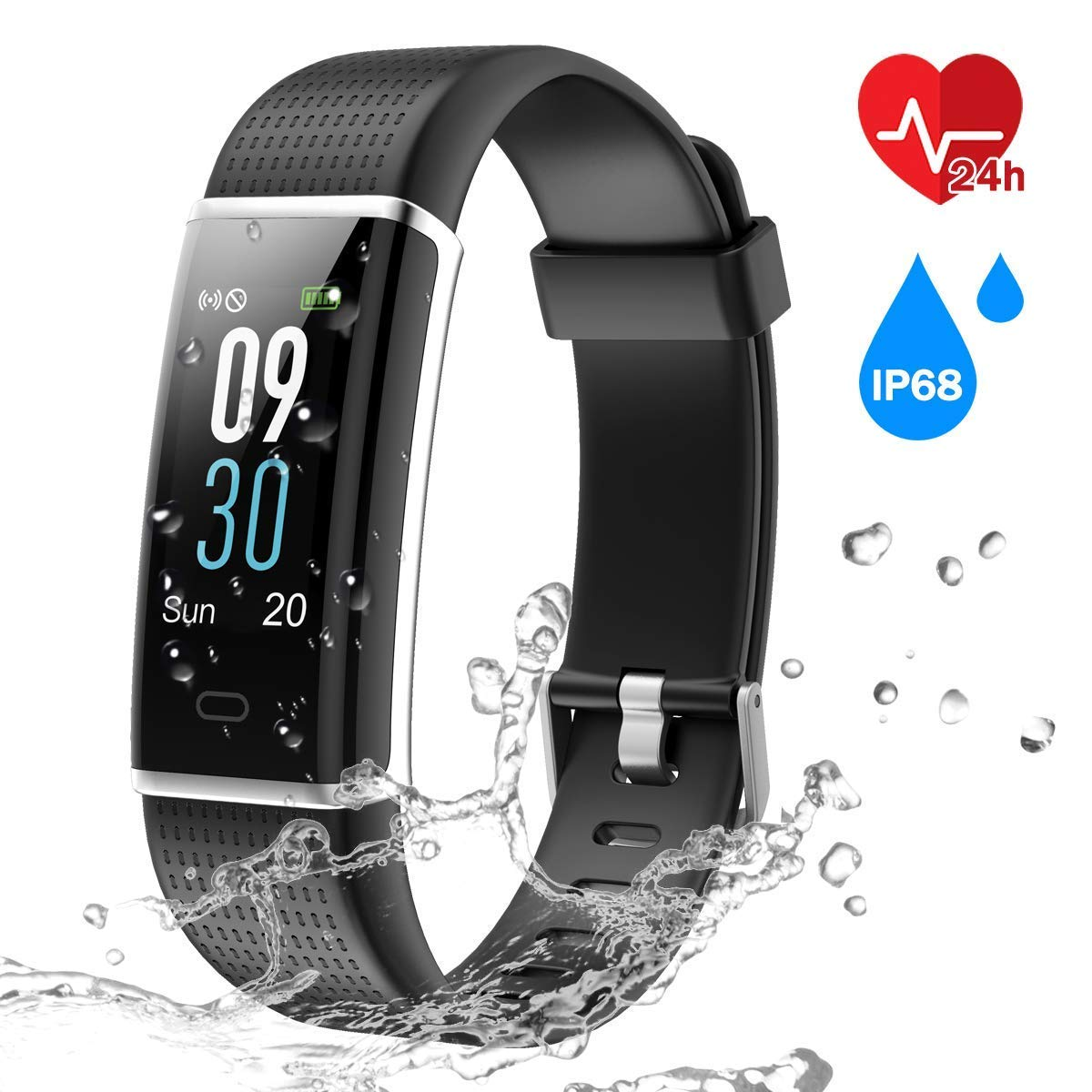 CHEREEKI Colour Screen Fitness Tracker Fitness Trackers With 24 Hours Heart Rate Monitor IP68 Waterproof Activity Tracker 14 Exercise Modes Smart Watch Screen Notification SMS
