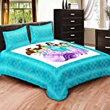 Bedcolors 100% Cotton Kids Cartoon Barbie Princes Printed Double Bedsheet With 2 Pillow Covers