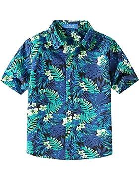SSLR Jungen Wald Hibiskus Sommer Button Down Casual Hawaii Kurzarm Hemd