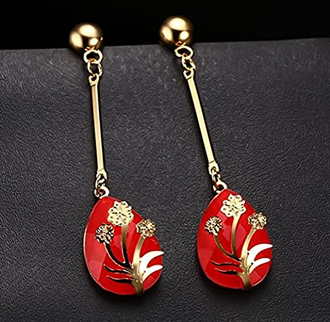 Vnox Women's Girl's Stainless Steel Long Dangle Flower Inlay Red Crystal Trendy Drop Earrings Gold