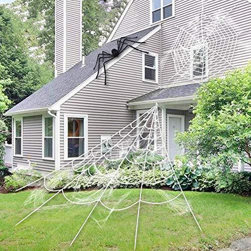 Ocamo Große beängstigende Spinnennetz-Halloween-Partyszene stützt Dekoration für im Freien