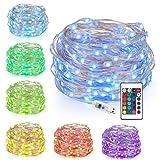 Kohree LED Lichterkette Silberdraht 10M/32.8ft, USB Powered Bunte Lichterkette Farbwechsel mit Fernbedienung, 100 LEDs Indoor String Licht für Schlafzimmer, Party, Außen, Garten, Hochzeit
