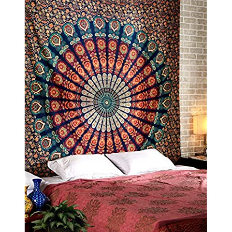 Algodón hippie colgar de la pared de la India Mandala tapices de Rajrang